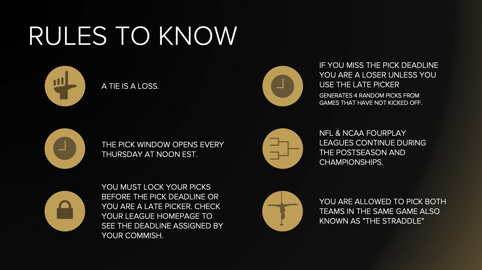 Remember these rules! These will come into play during weekly competition.